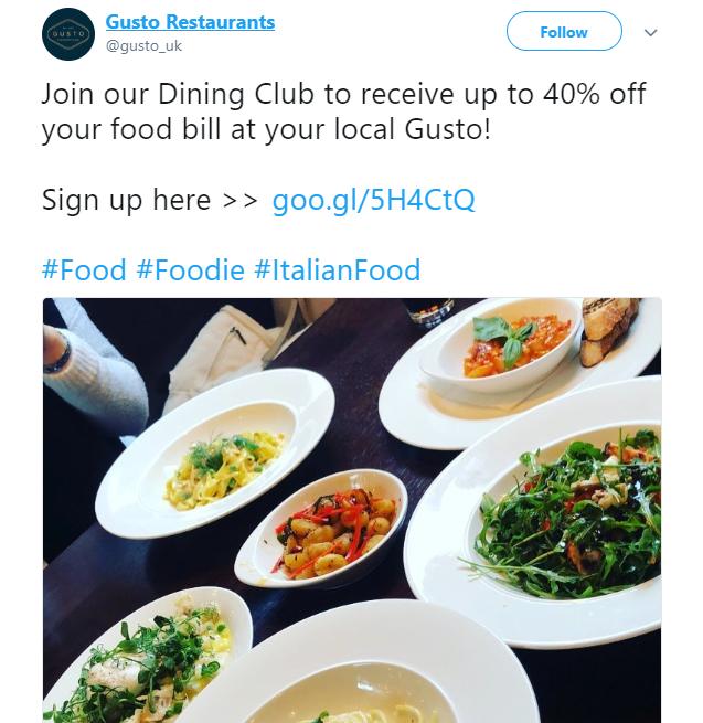 exclusive twitter restaurant offer