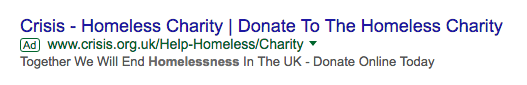 Charity Search Ad