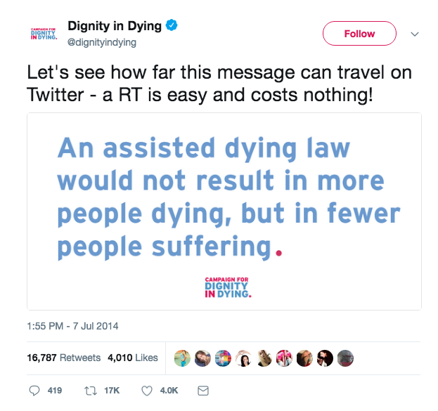 Dignity in Dying Tweet