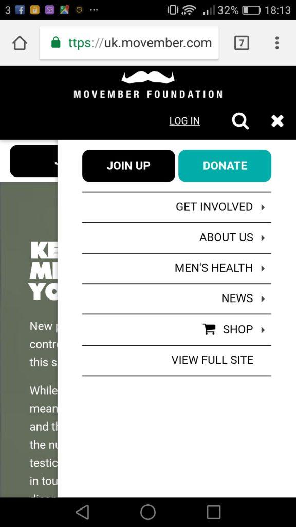 movember mobile website