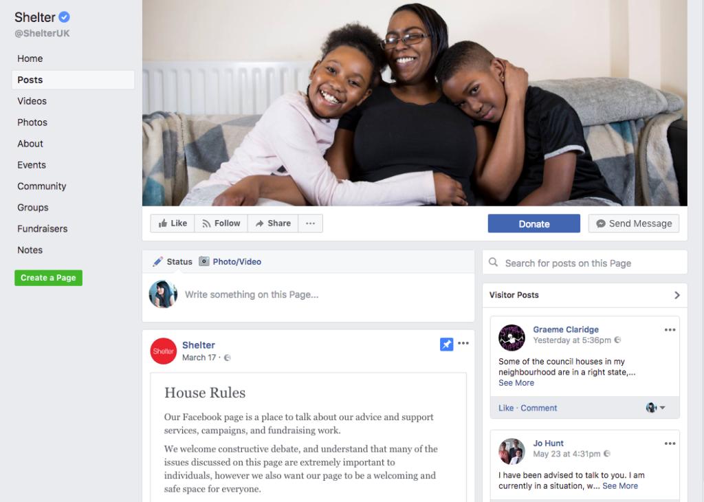 shelter facebook