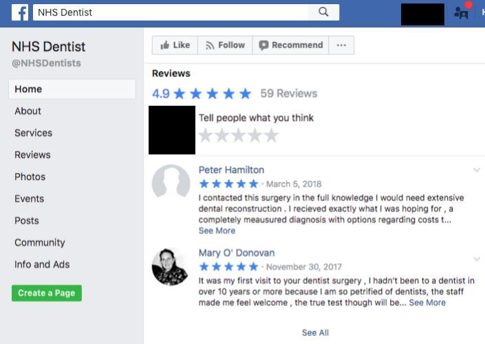 Dentist Facebook Reviews