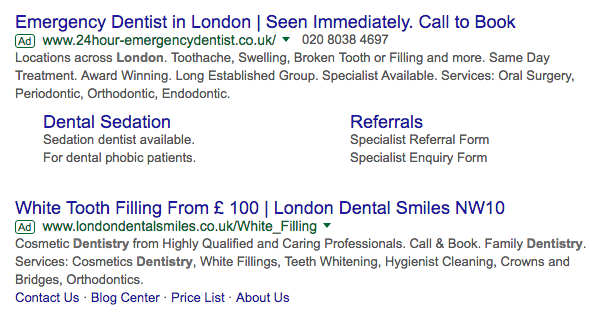Dentist Adwords Copy