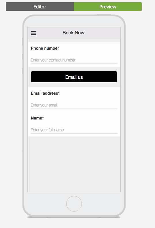 booking form email name and number