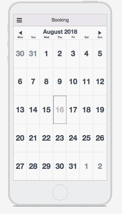 Booking Tab Calendar
