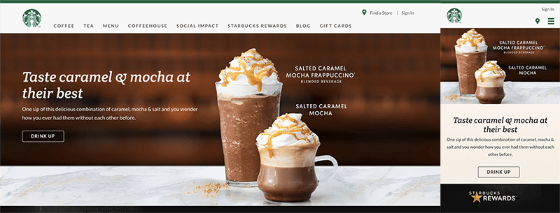 Starbucks Mobile Website