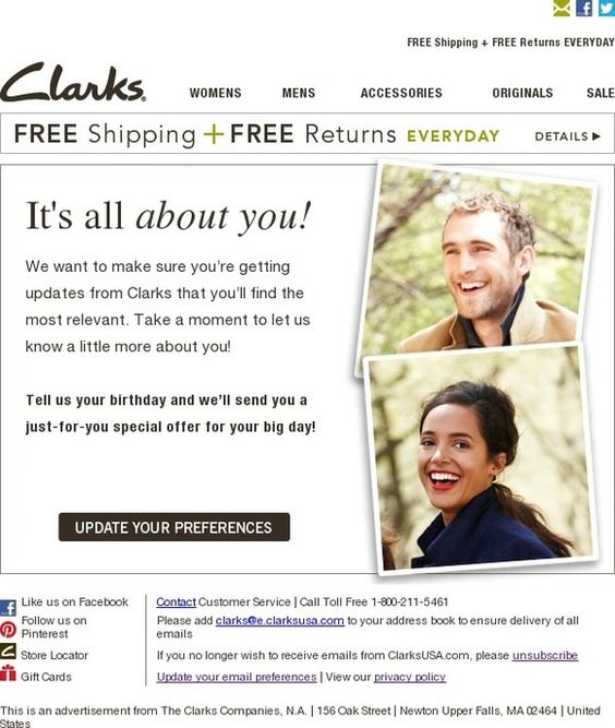 Clarks Email Update Preferences
