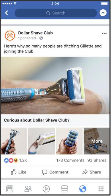 Dollar Shave Club Facebook Ad