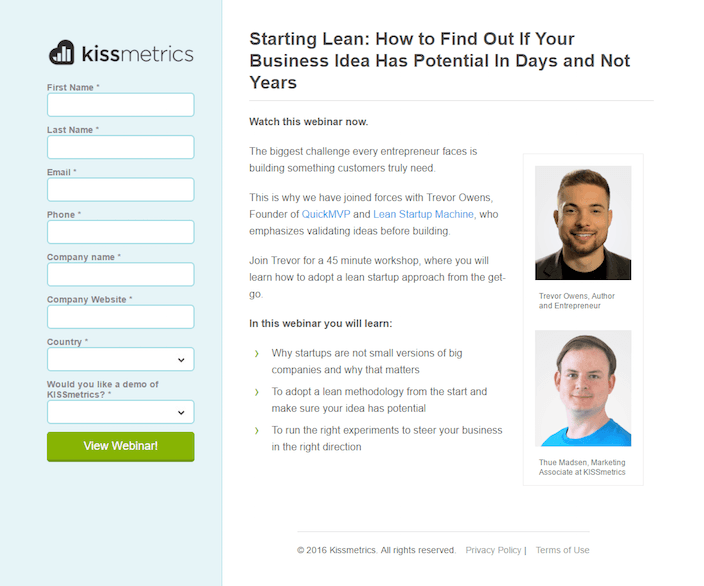 kissmetrics landing page example