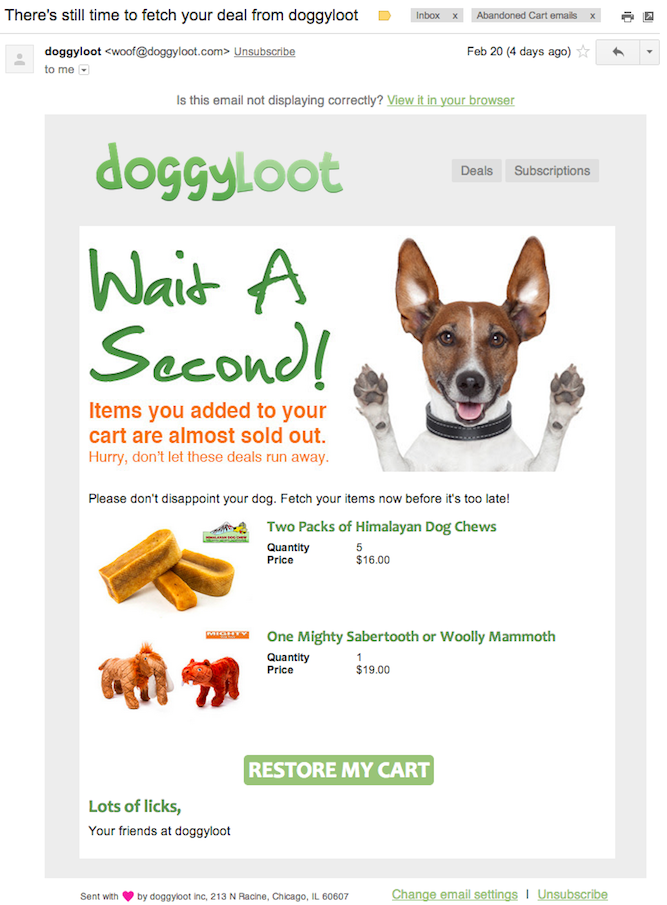 Doggy Loot Card Abandonment Email