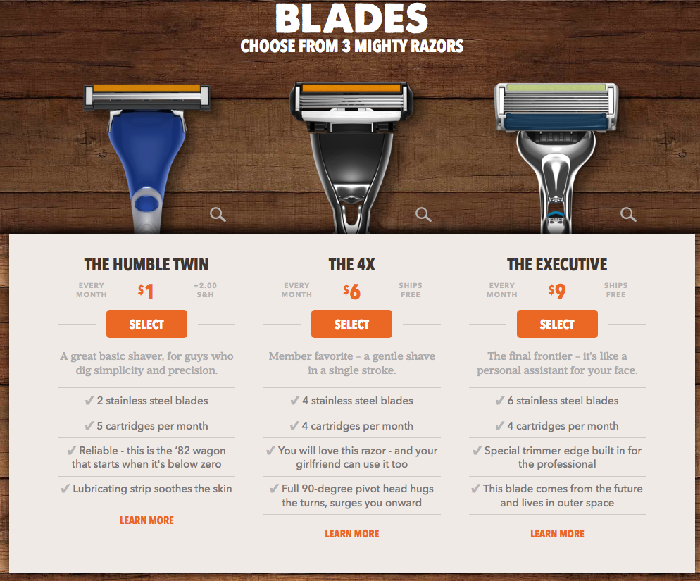 Dollar Shave Club Pricing Upsell
