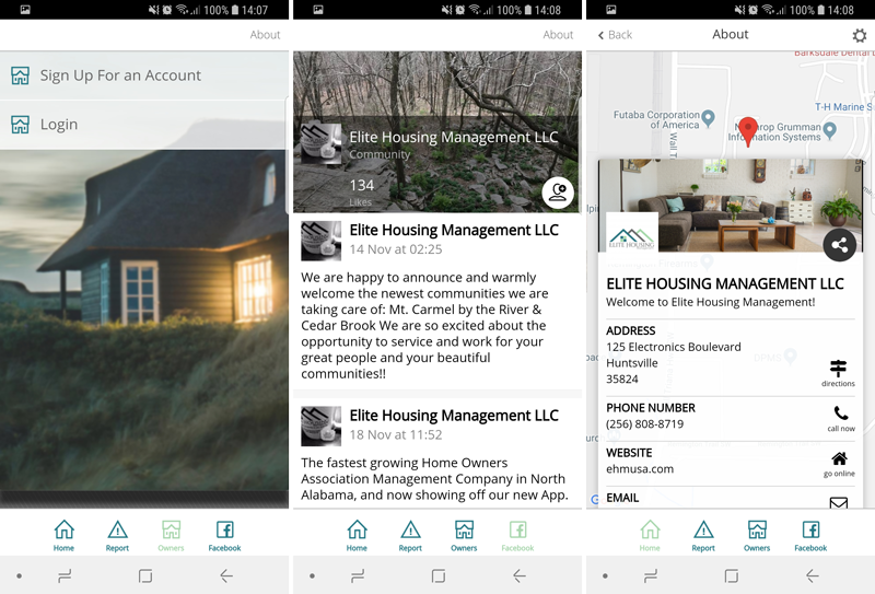 Elite Housing Management App Screens