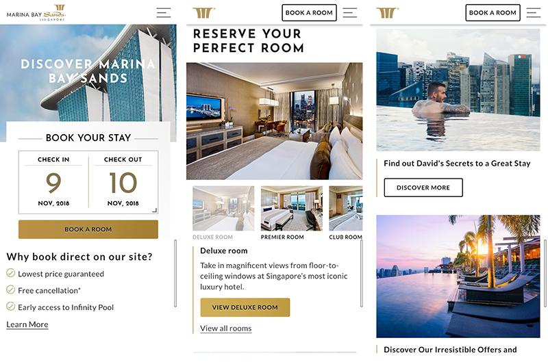 Marina Bay Sands Hotel Mobile Marketing Website