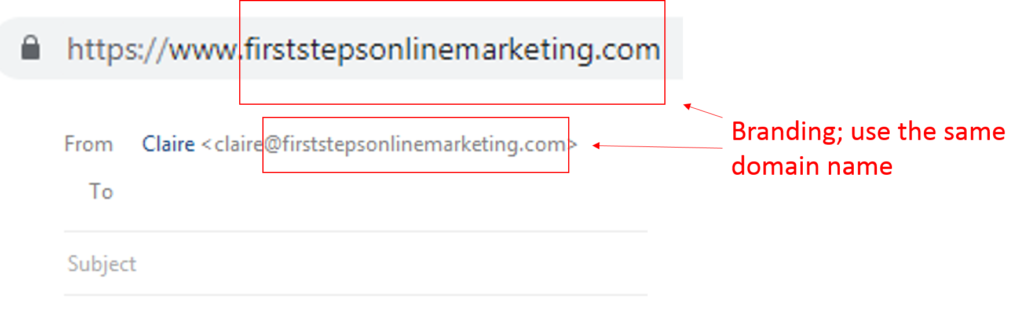 domain name and email address
