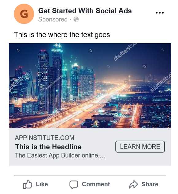 Facebook Ad Text CTA