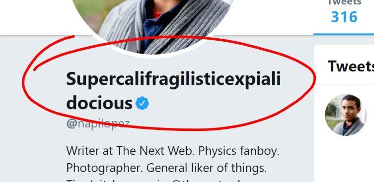 Long Twitter Username