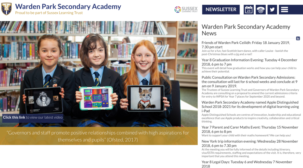 school website news page