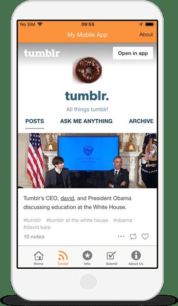 tumblr app integration