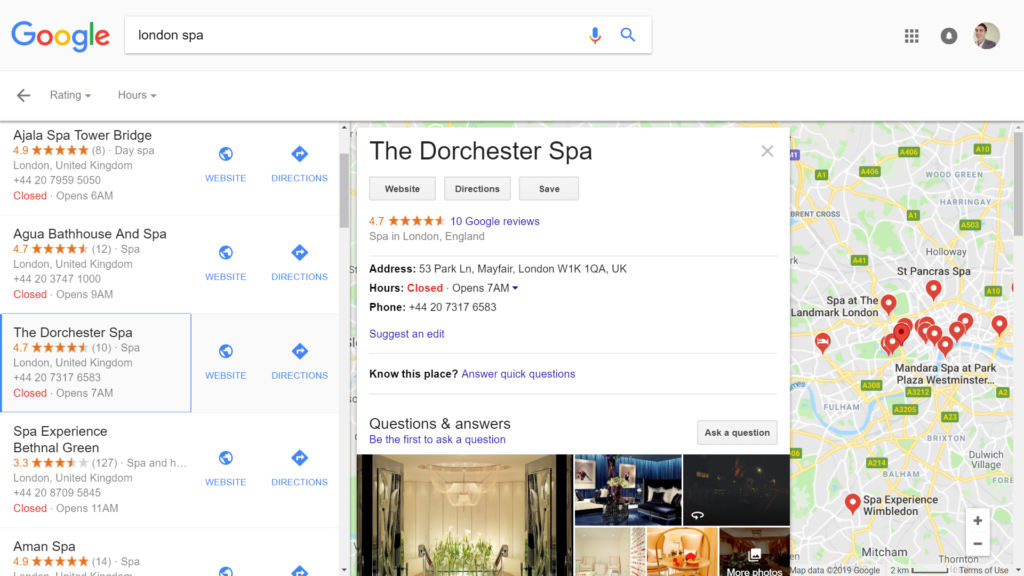 Spa Marketing Google Maps Results