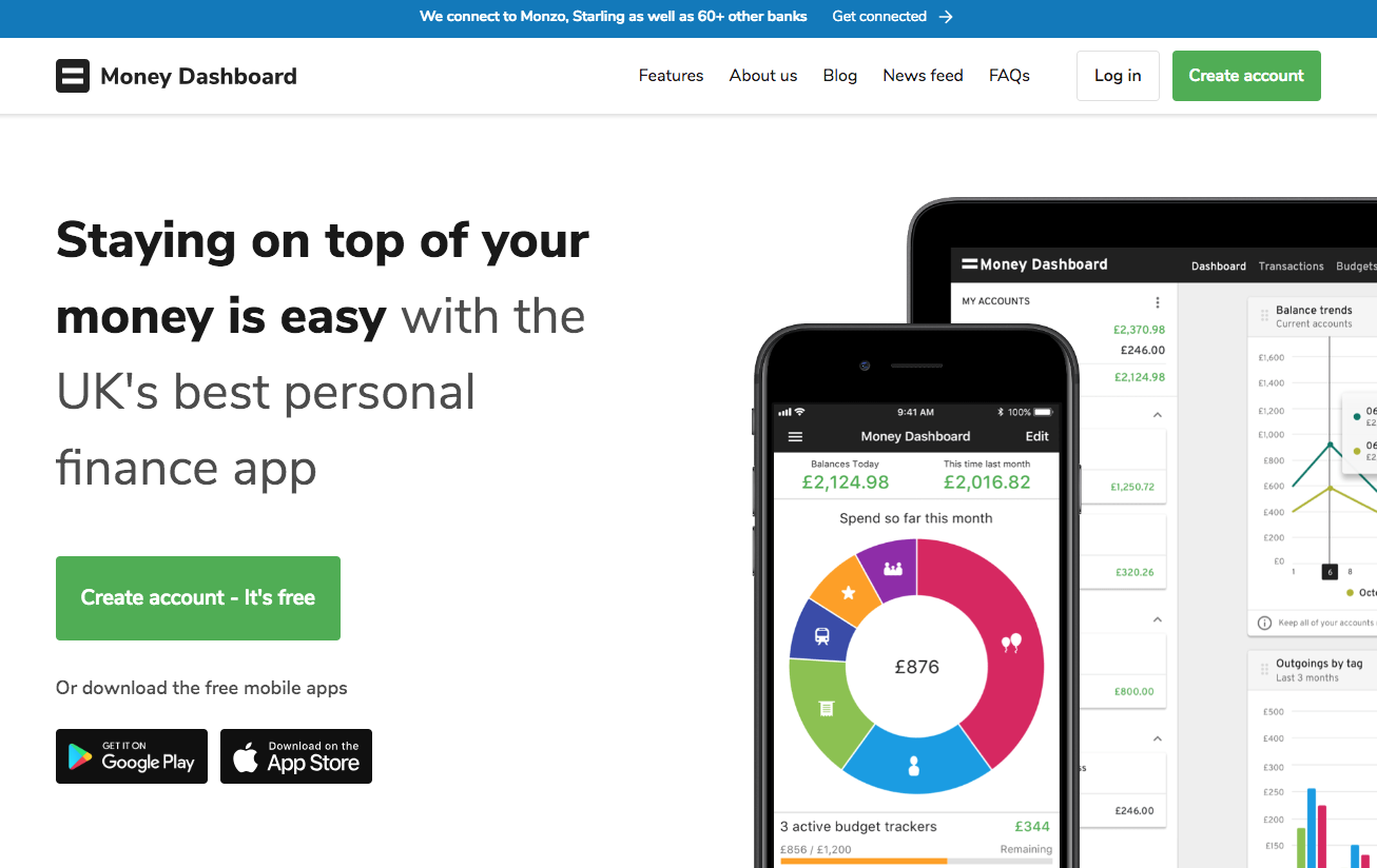 money dashboard app landing page