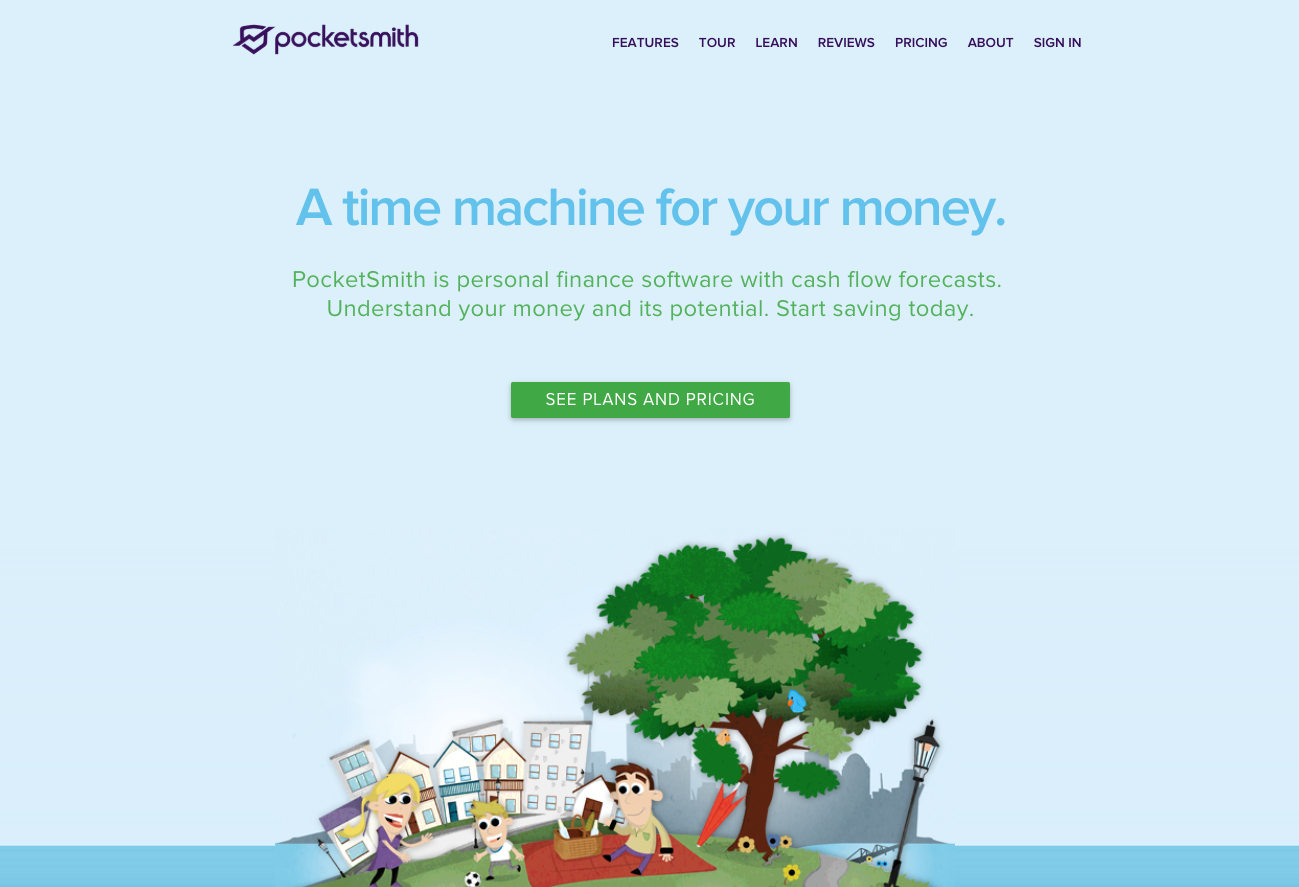 pocketsmith blue landing page
