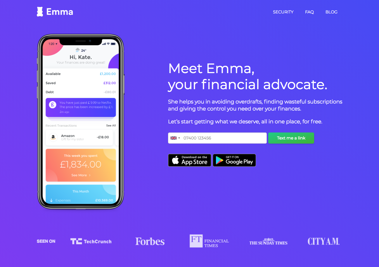 emma app landing page showcasing the app on a phone on a purple background