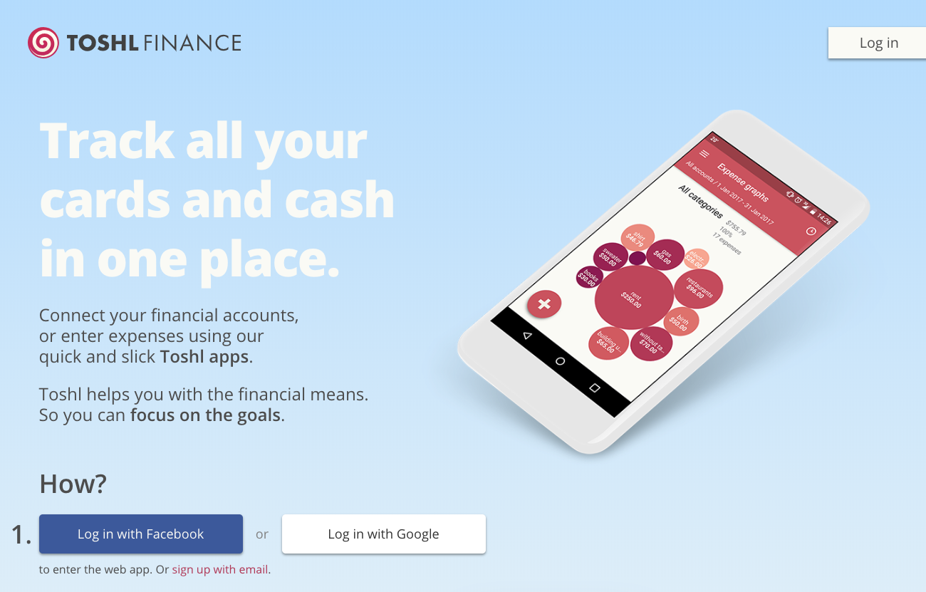 Toshl Finance App Website With the Phone Showcasing the App on a Blue Background