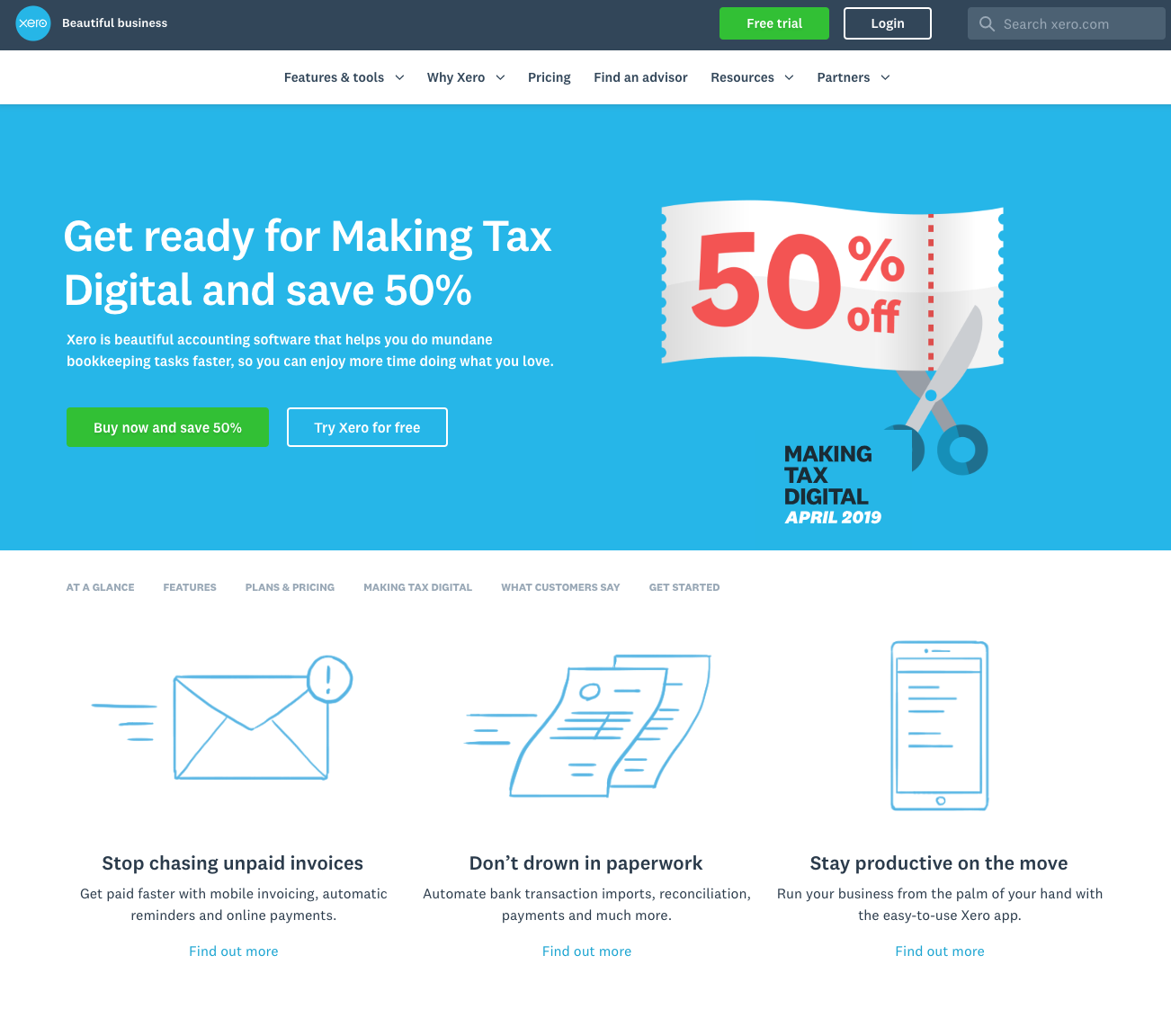 xero website showcasing the promotions and features