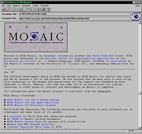 NCSA Mosaic home page displayed in the NCSA Mosaic browser