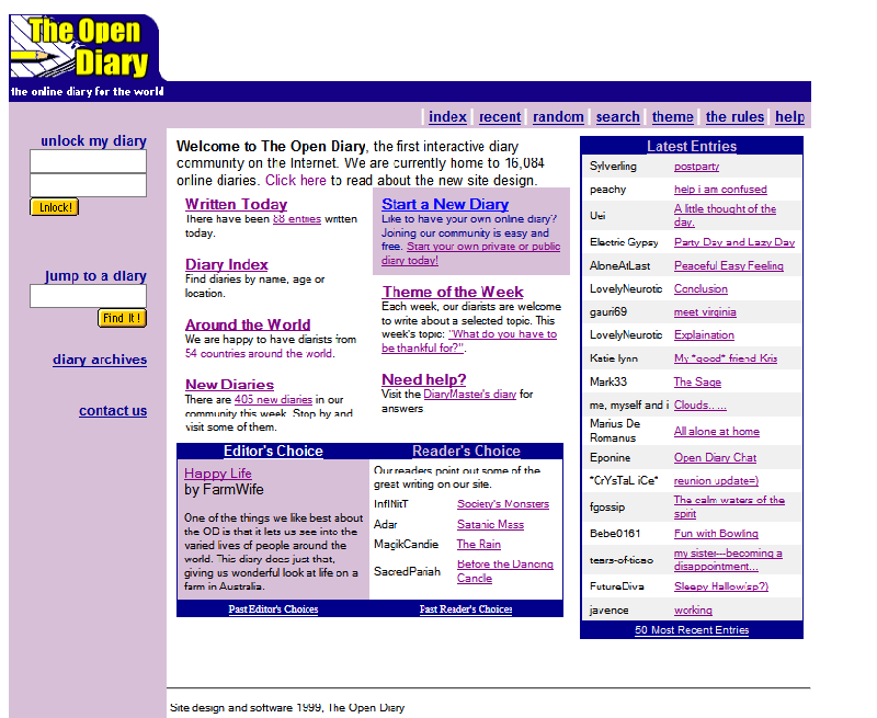 The Open Diary's home page in 1999