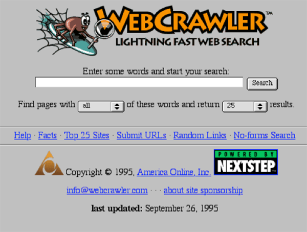 WebCrawler home page in 1995