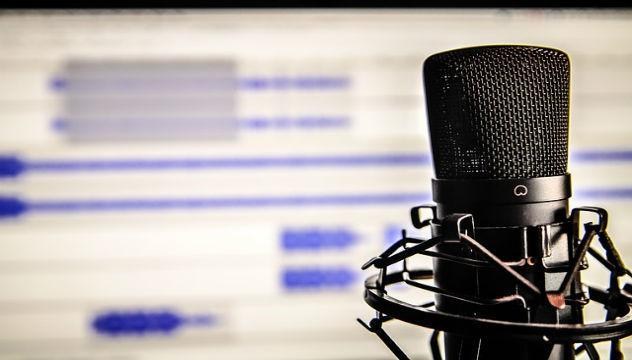 microphone and recording software set up for podcasting