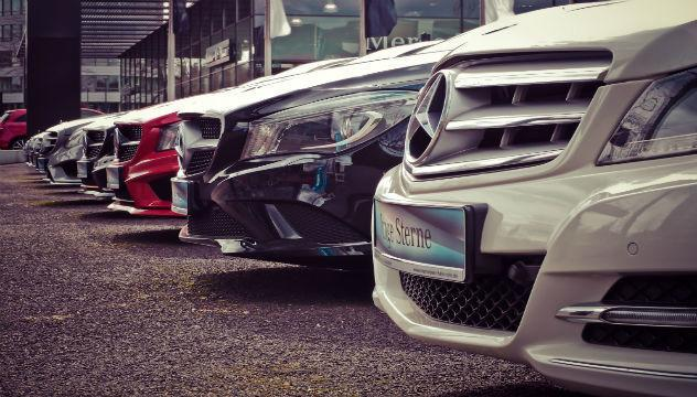 row of mercedes benz cars