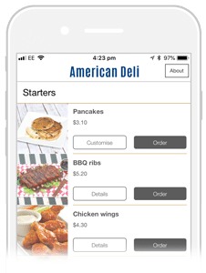 food ordering app example for an american deli