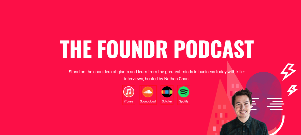 the foundr podcast landing page