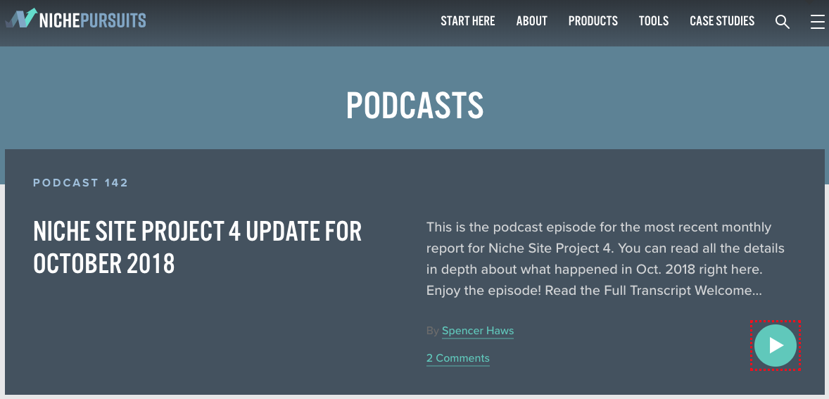 Niche Pursuits Podcast Landing Page