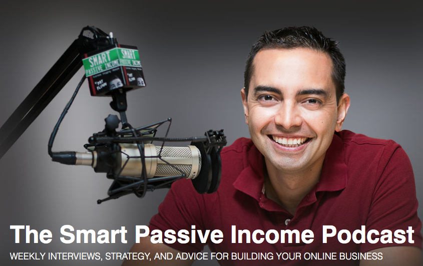 the smart passive income podcast landing page with the hosts picture