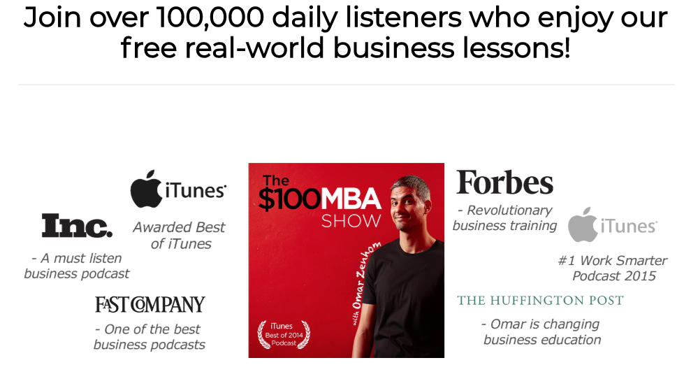 the $100 mba podcast landing page