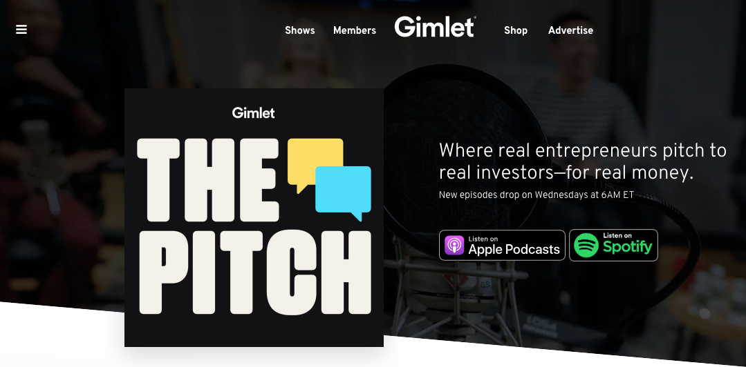 the pitch podcast landing page