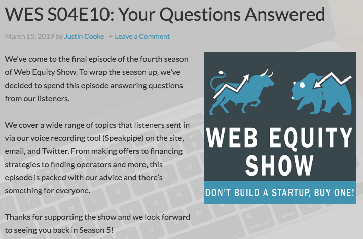 Web Equity Show Podcast Landing Page