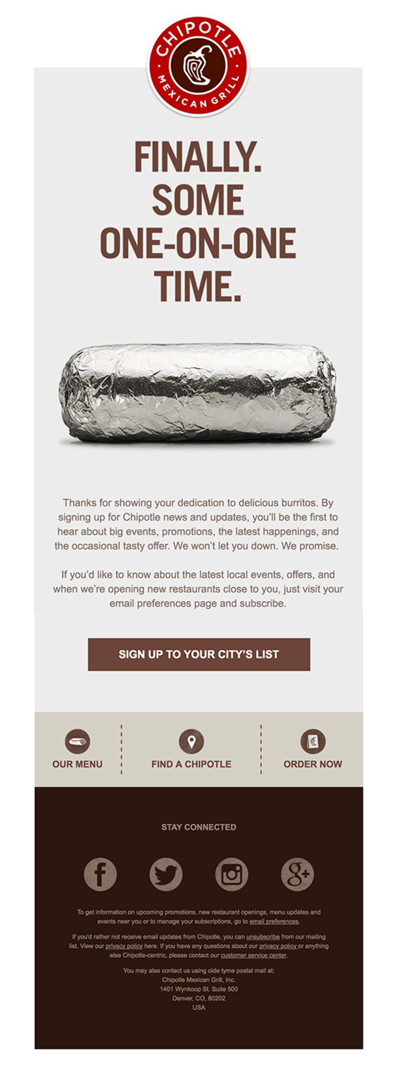 Example Email From Chipotle With a Picture of a Huge Burrito Wrapped