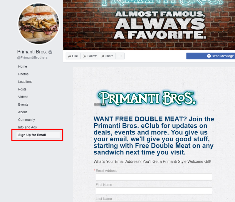 Sign up for Email Section on Restaurants Facebook Page