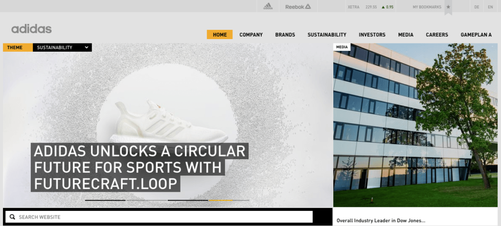 Adidas Website Omnichannel Marketing Example