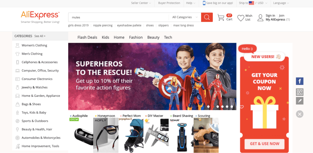 Aliexpress Website Omnichannel Marketing Example