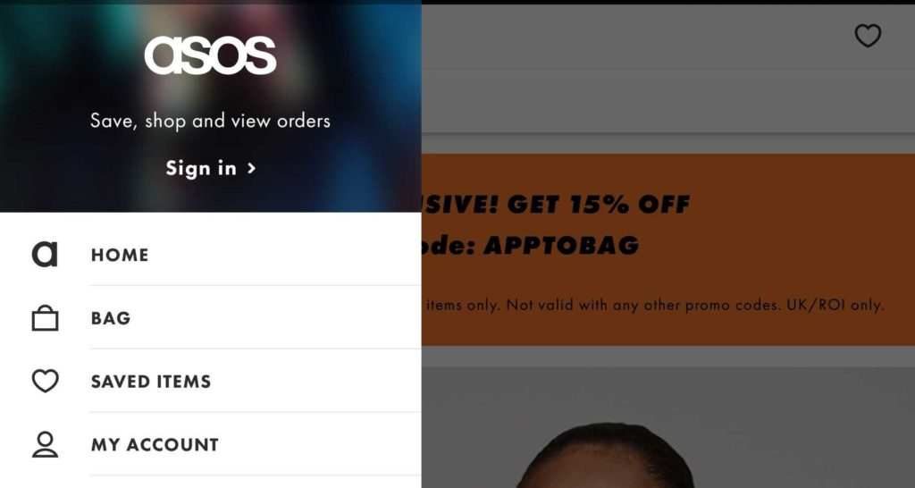 Asos Website Menu Omnichannel Marketing Example