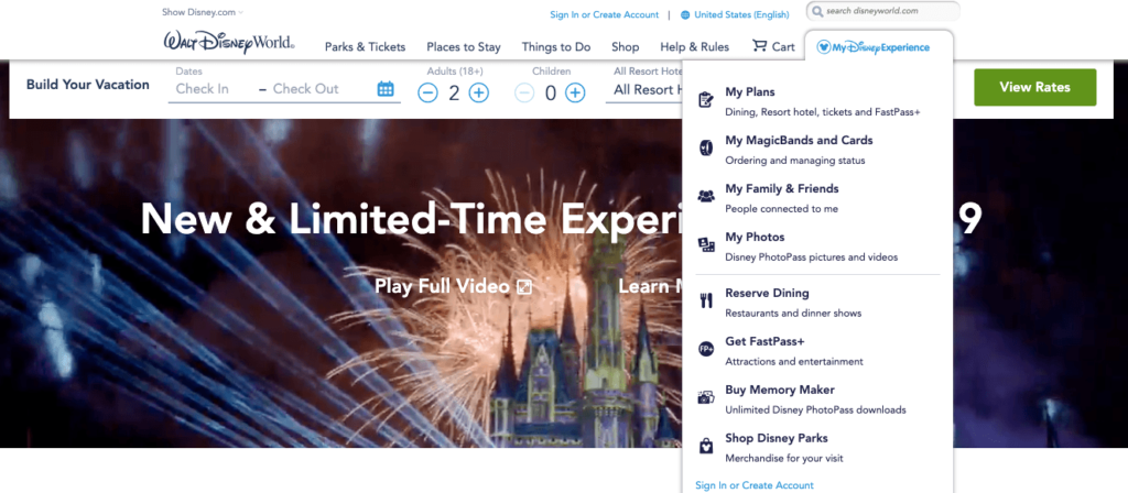 Disney Website Omnichannel Marketing Example