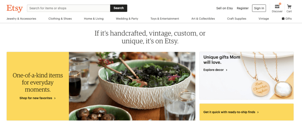 Etsy Website Omnichannel Marketing Example