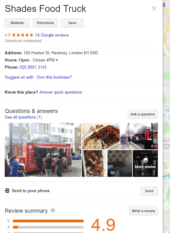 Food Truck Information on Google Maps