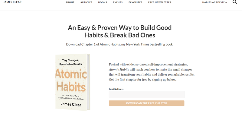 James clears website showcasing his book