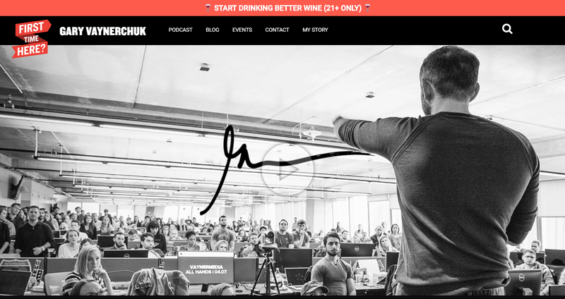 gary vaynerchucks website with a big picture of him speaking